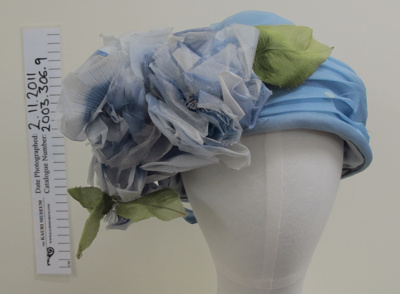 Blue organza hat mid 20th Century; Masefield; mid 20th Century; 2003_306_9