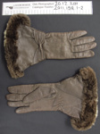 Fur lined leather gloves; Dent's; c.1940-1950's; 2011_158_1-2