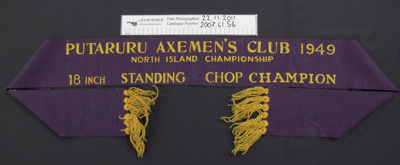 Wood chopping winners ribbon; Putaruru Axe man's club; 1949; 2007_61_56