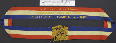 Wood chopping winners ribbon; N.Z. AC & A. Union; 1940; 2007_61_49