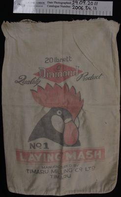 Calico 'Laying Mash' produce bag; Diamond; mid 20th Century; 2006_34_11,19