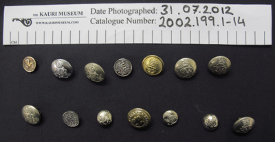 Collection of Military buttons; Waterbury Buttons Co.; 2002_199_1-14