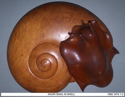 Kauri Snail Sculpture; Ted Hardy, Maungakaramea; 1990's; 1990.1074.1-2
