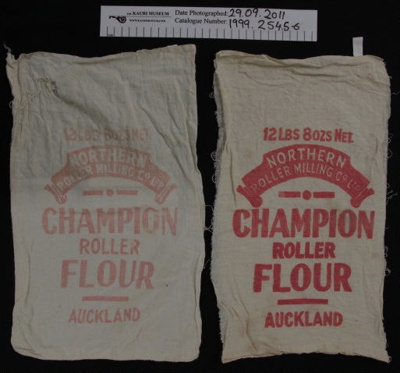 Muslin 'Champion' flour bag; Northern Roller Milling Co Ltd; mid 20th Century; 1999_254_5-6