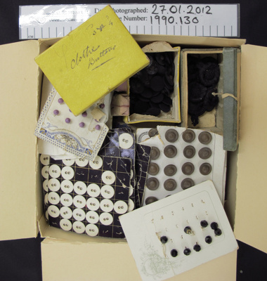 Box of buttons; Unknown; early 20th Century; 1990_130