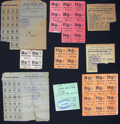 Ration coupons WW2; N.Z. Government; 1939-1945; 2002_595_1-9