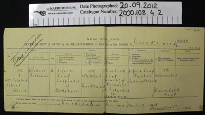 Birth Certificate; 1886; 2000_108_4_2