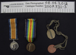 Medals and Identification tag WW1; c.1914-1920; 2007_73_1-3