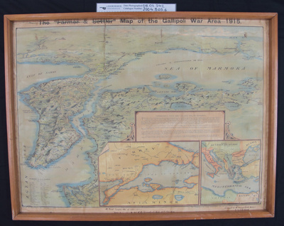 Large framed map, 'The Farmer & Settler Map of The Gallipoli War Area 1915'; Marchant's; c.1919; 2004_305_6