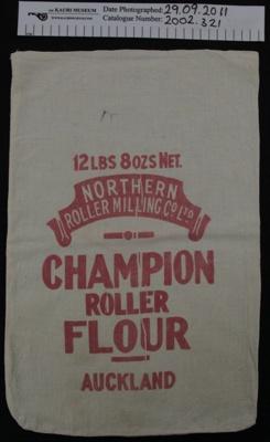 Muslin 'Champion' flour bag; Northern Roller Milling Co Ltd; mid 20th Century; 2002_321