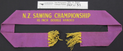Wood chopping winners ribbon; Unknown; Unknown; 2007_61_53