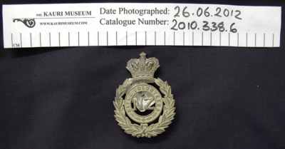 Cap badge, NZ RIFLE VOLUNTEERS; Unknown; c.1845-1900; 2010_338_6