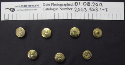 Button collection; J.R.Gaunt; mid 20th century; 2003_658_1-7