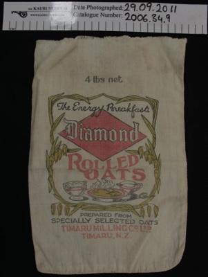 Muslin rolled oats produce bag; Diamond; mid 20th Century; 2006_34_9,15