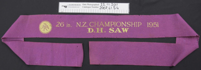 Wood chopping winners ribbon; ARA; 1951; 2007_61_54