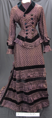 Purple silk brocade dress c.1870's; Unknown; c.1870's; 1982_38_1-2