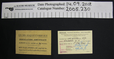 Inoculation certificate WW2; RAF; 1943; 2005_230