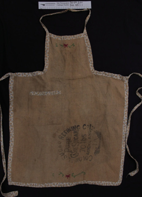 Apron made from sugar bag; Colonial Sugar Refining Co Ltd; 1950's; 2011_139_1_1