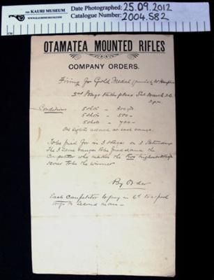 Orders Otamatea Mounted Rifles; Otamatea Mounted Rifles; c.1900-1914; 2004_582