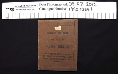Pay book and photo; New Zealand Defence Force; 1914-1918; 1990_1356_1-2