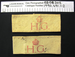 Home guard armband WW2; c.1939-1945; 1990_491_1-2