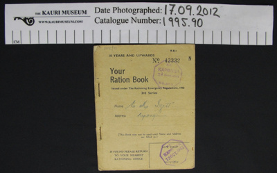 Ration book WW2; New Zealand Government; 1944; 1995_90