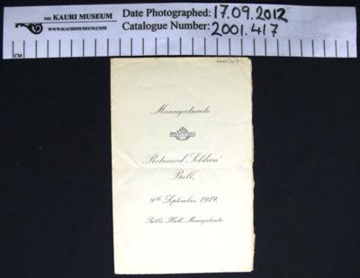 Programme, R.S.A Ball 1919; R.S.A Maungaturoto; 1919; 2001_417
