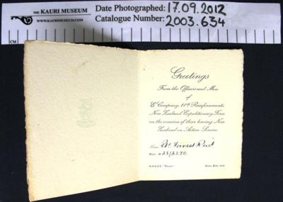 Embarkation card 1916; 1916; 2003_634