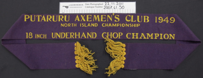 Wood chopping winners ribbon; Putaruru Axe man's club; 1949; 2007_61_50