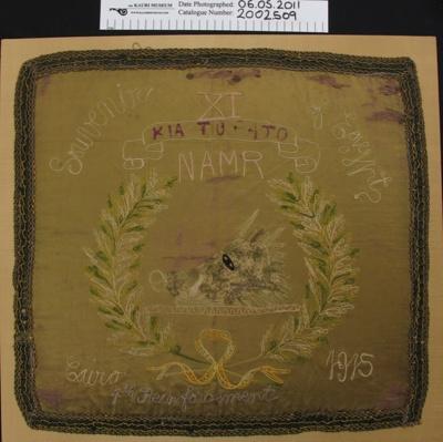 Commemorative cushion cover; Unknown; 1915; 2002_509