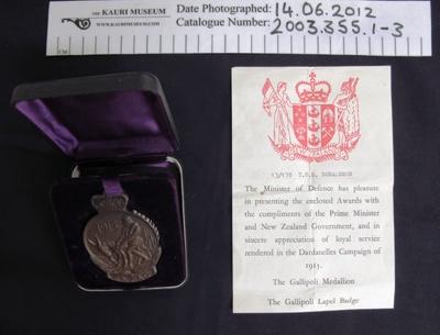 ANZAC Commemoration Medallion; 1967; 2003_355_1-3