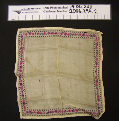 Box of handkerchiefs, silk handkerchief, belonged to donors mother and grandmothers; Unknown; Unknown; 2006_294_2