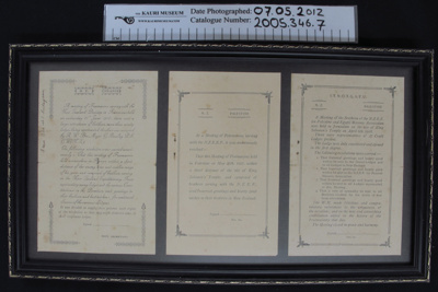 Certificate Franklyn Lodge meetings WW1; Freemasons; c.1916-1918; 2005_346_7