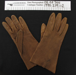 Brown leather gloves; Unknown; Unknown; 1990_279_1-2