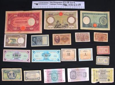 WW2 cash bank note; 1939-1943; 1982_1036_4_1-19