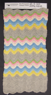 Ladies knitted scarf; Unknown; mid 20th Century; 2004_468_43