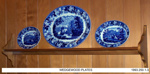 Wedgewood plates,  'Landscape with Blue Rose border'; Wedgewood Pottery; 1820's; 1993.250.1-3