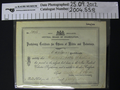 Certificate NCO 1908; New Zealand Defence Force; 1908; 2004_558