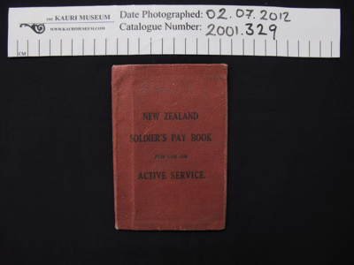 Soldiers pay book WW1; c.1916-1917; 2001_329