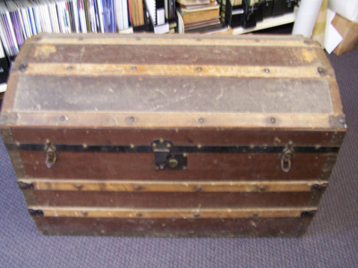2 large wooden travelling trunks; 2017.22.1-2
