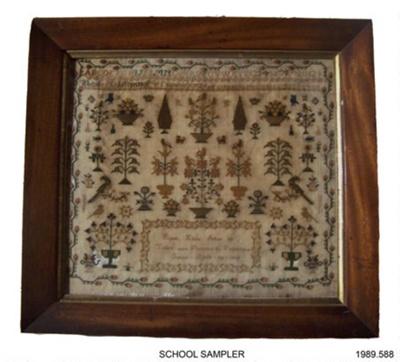 School Sampler; Ruth Eade; 1839; 1989.588