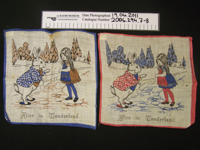 Box of handkerchiefs, Alice and Wonderland, belonged to donors mother and grandmothers; Unknown; early 20th century; 2006_294_7-8