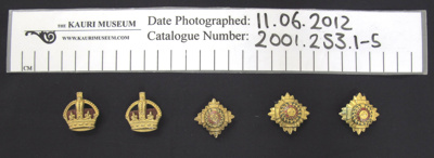 Buttons military WW1; 1914-1918; 2001_253_1-5