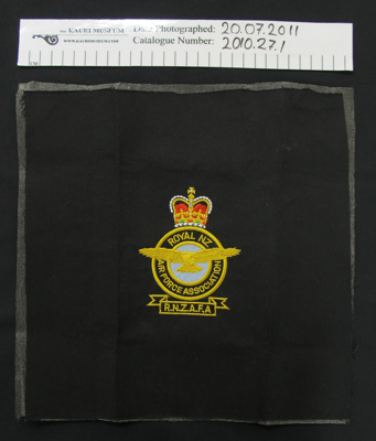 RNZAF Association Badge; Unknown; c.1945-2010; 2010_27_1