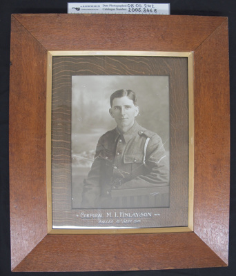 Photograph of Corporal M. I. Finlayson; c.1916; 2005_346_8