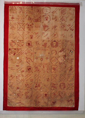 The Ardgowan-Weston Red Cross made this quilt duri...