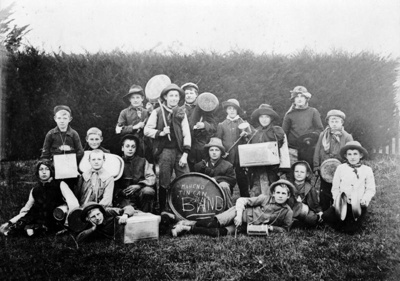 The Maheno Tin Can Band circa 1912. Two people hav...