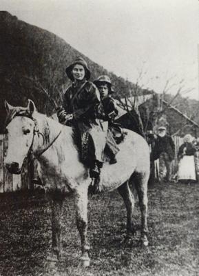 Teacher Jill Higham gives pupil George Higham a ride to school., TC8418