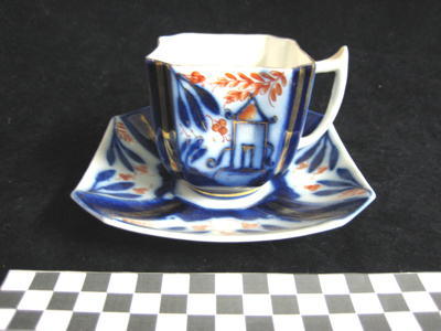 Unusual square shaped cup and saucer.