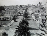 Aerial photograph of Bow Street with Palms.; circa 1940; 1972.23.2